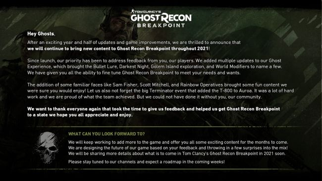 Ubisoft will continue to bring new content to Ghost Recon: Breakpoint in 2021